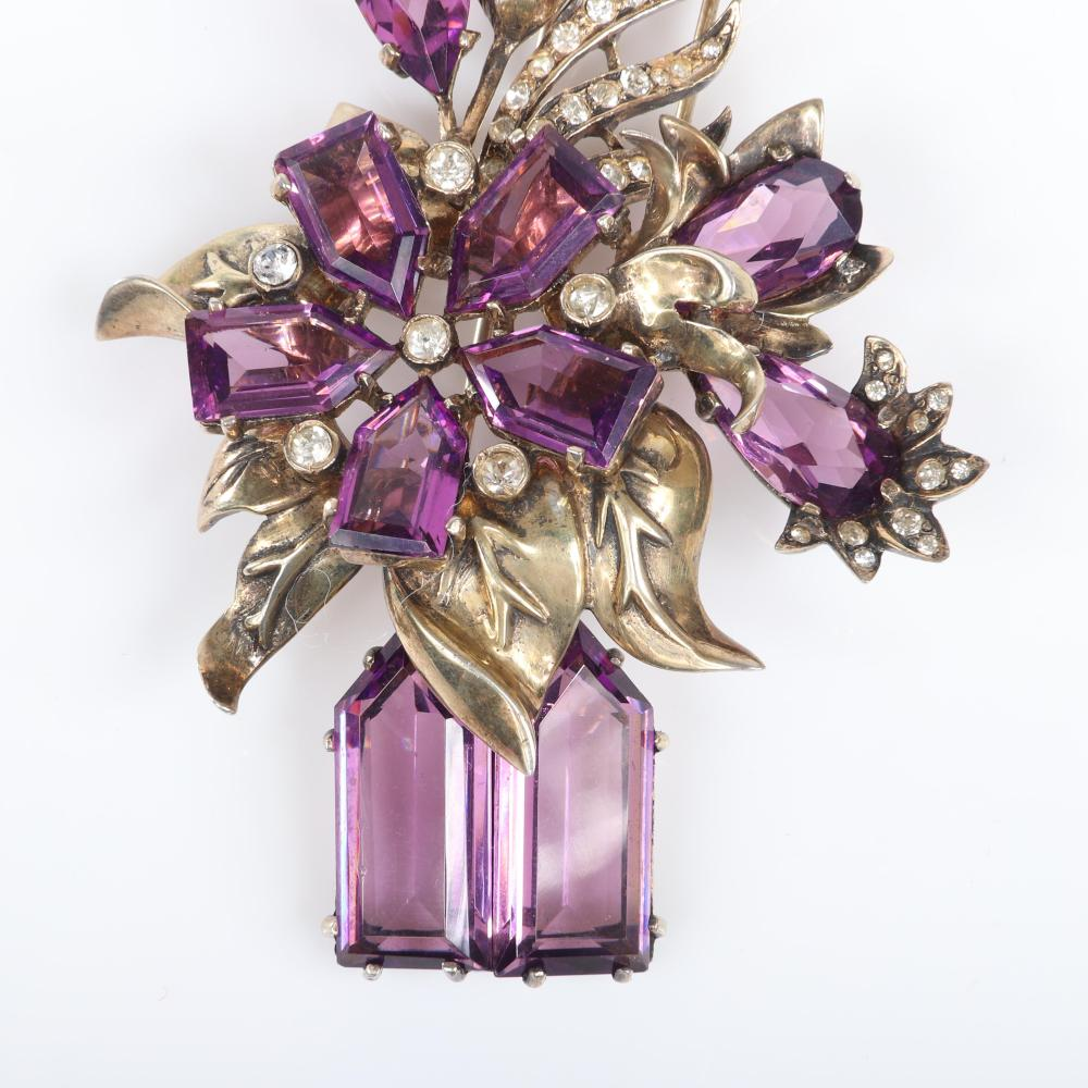 """Eisenberg Original large sterling vermeil vase of flowers with large amethyst faceted open backed crystals in various shapes and clear pave and bezel-set accents, mid-1940s. 4 1/4"""" x 2 1/2"""""""