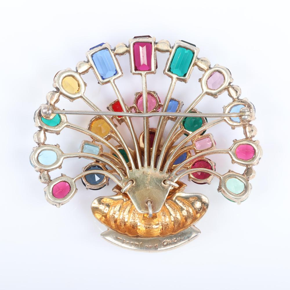 "Eisenberg Original sterling vermeil dimensional basket bouquet brooch with three rows of jewel tone open back crystals in various shapes and sizes, with pave details, mid-1940s. 2 1/2"" x 3"""