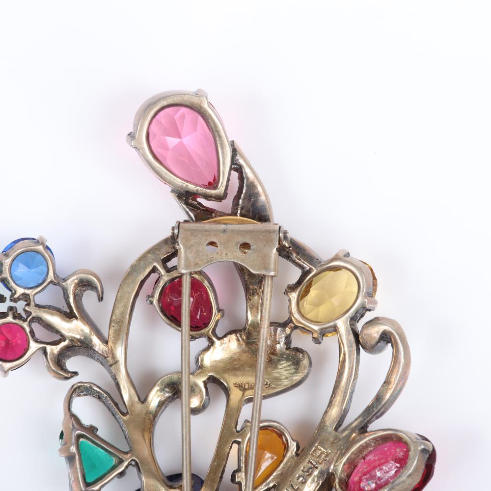"""Eisenberg Original sterling vermeil colorful floral fur clip with faceted jewel tone crystals in various shapes and sizes, and pave details, mid-1940s. 4"""" x 2 1/2"""""""