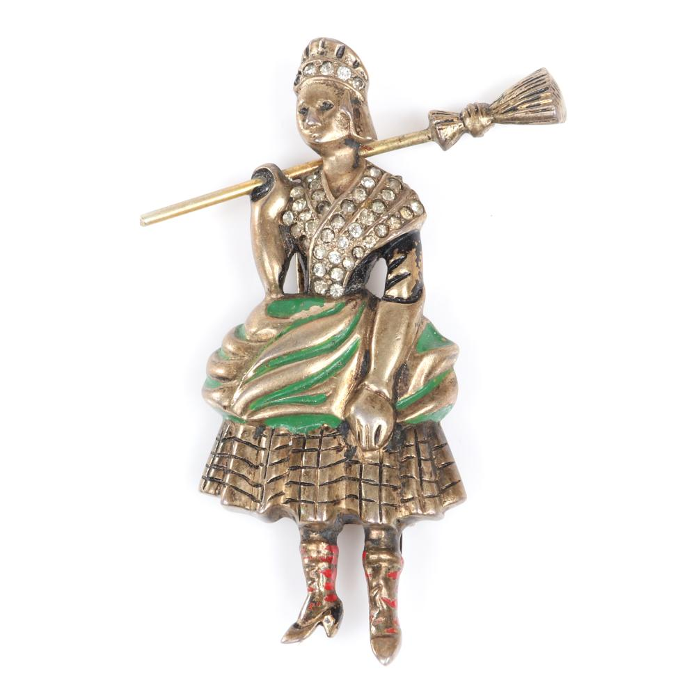 """Eisenberg Original sterling vermeil cleaning woman with broom fur clip with green, black and red enamel and pave detailing, mid-1940s. 3"""" x 1 7/8"""""""