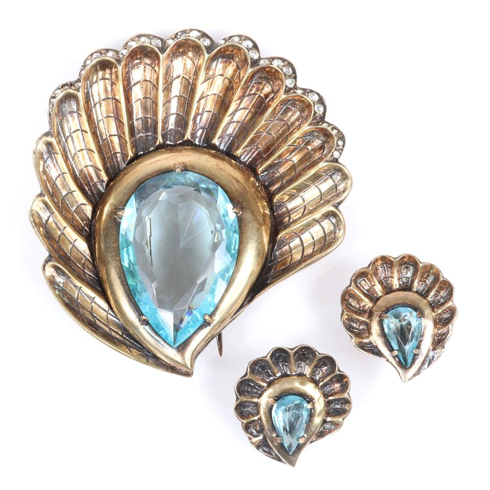 """Eisenberg Original Oceanic sterling vermeil demi-parure scalloped shell brooch and earring set with large aqua faceted crystal and pave details, marked E Sterling, mid-1940s. 2 3/4"""" x 2 1/2"""" (pin), 1 1/8"""" x 1"""" (earrings)"""