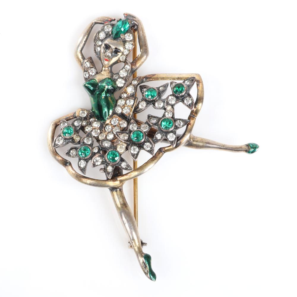 "Eisenberg Original sterling vermeil open-work dancing ballerina brooch with emerald and colorless rhinestones and green enamel bodice and shoes, mid-1940s. 3 1/4"" x 2 1/2"""