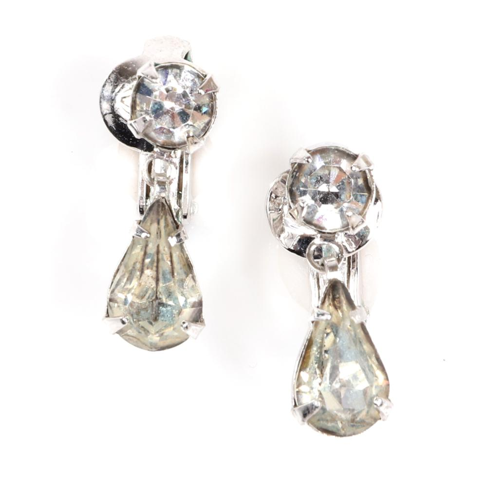 """Eisenberg Ice patented stunning cocktail ring in original box with silver metal, huge pear-shaped faceted crystal & pave shank, paired with petite teardrop earrings, c. 1950s. 6 1/2 (ring size), 3/4""""H (earrings)"""