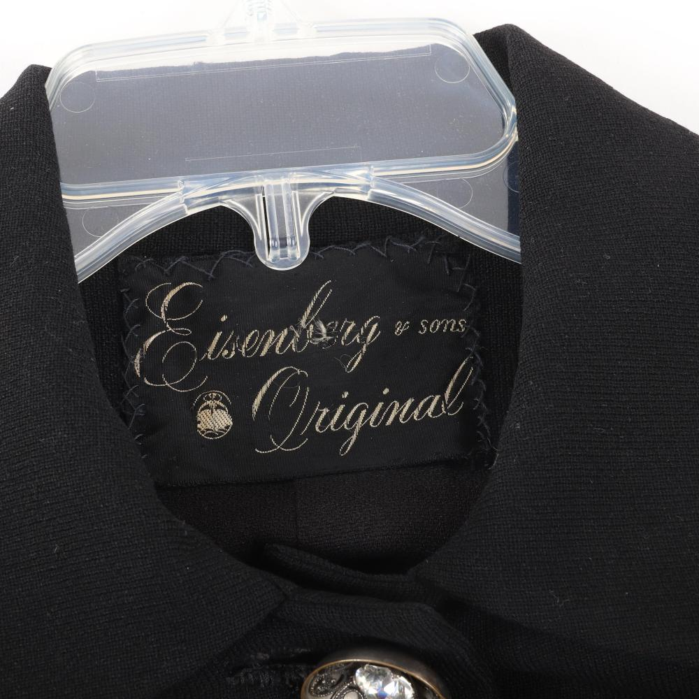 """Eisenberg & Sons Originals elegant black wool swing coat that closes two ornate decorative buttons cupping large faceted rhinestones, c. 1940s. 36""""L"""