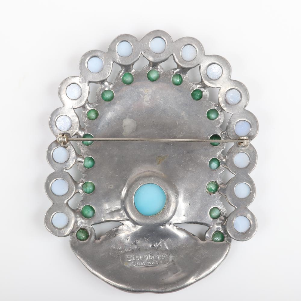 """RARE and EARLY Eisenberg Original huge, rare and early Art Deco shield brooch in silver pot metal with fans of pave surrounded by faux jade and moonstone cabochons, c. 1930s. 3 1/2"""" x 3"""""""