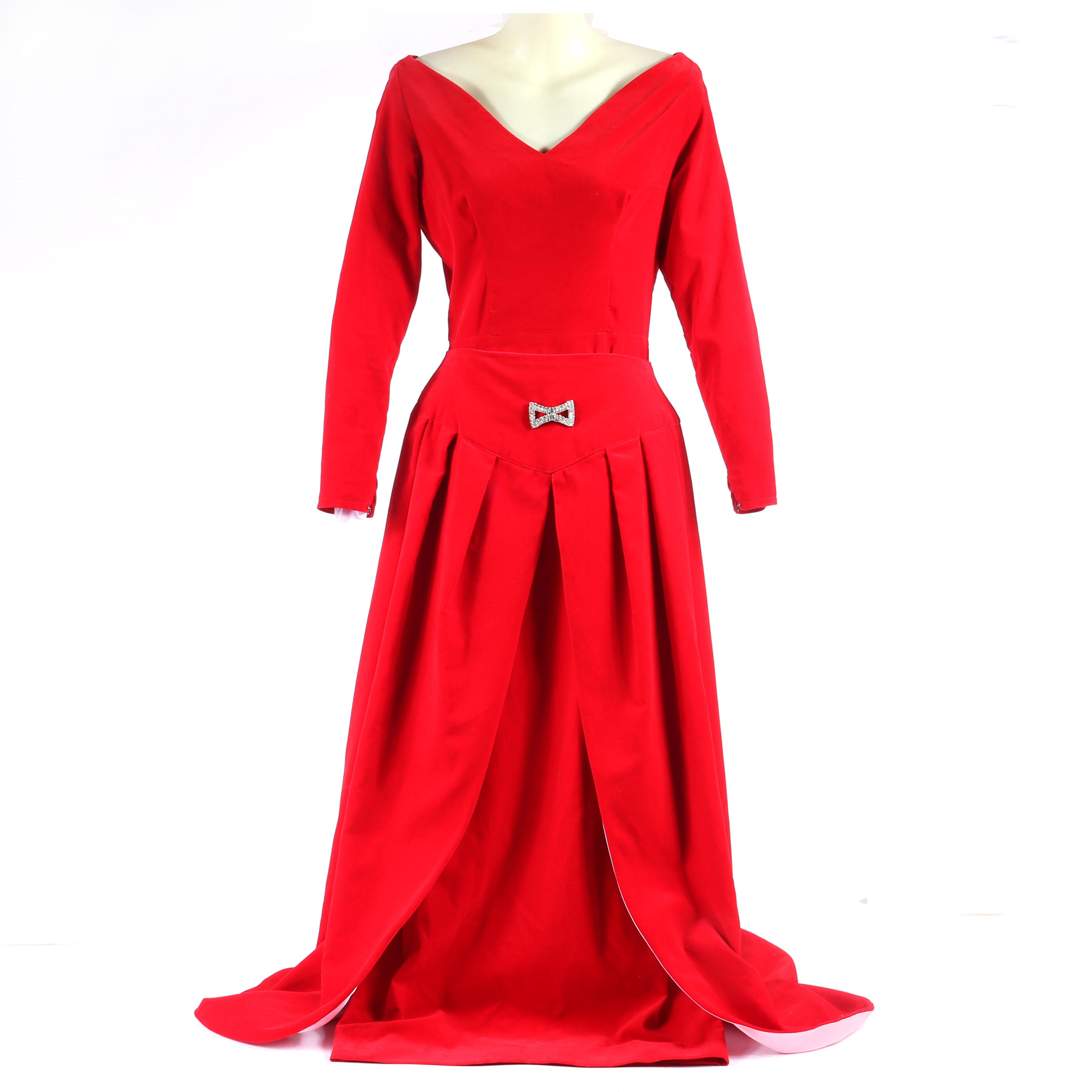 "Eisenberg Originals stunning red velvet evening dress with stunning pleated open front over-skirt with pink satin lining that shows with movement, and large diamante bow sew on at the waist. 53""L gown. 41""L skirt."