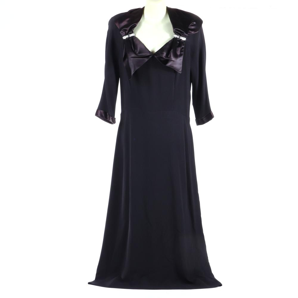 """Eisenberg Originals black rayon crepe dress with black satin bow collar accented with, original jeweled sew-ons with large emerald-cut rhinestones, c. 1940. 51""""L"""