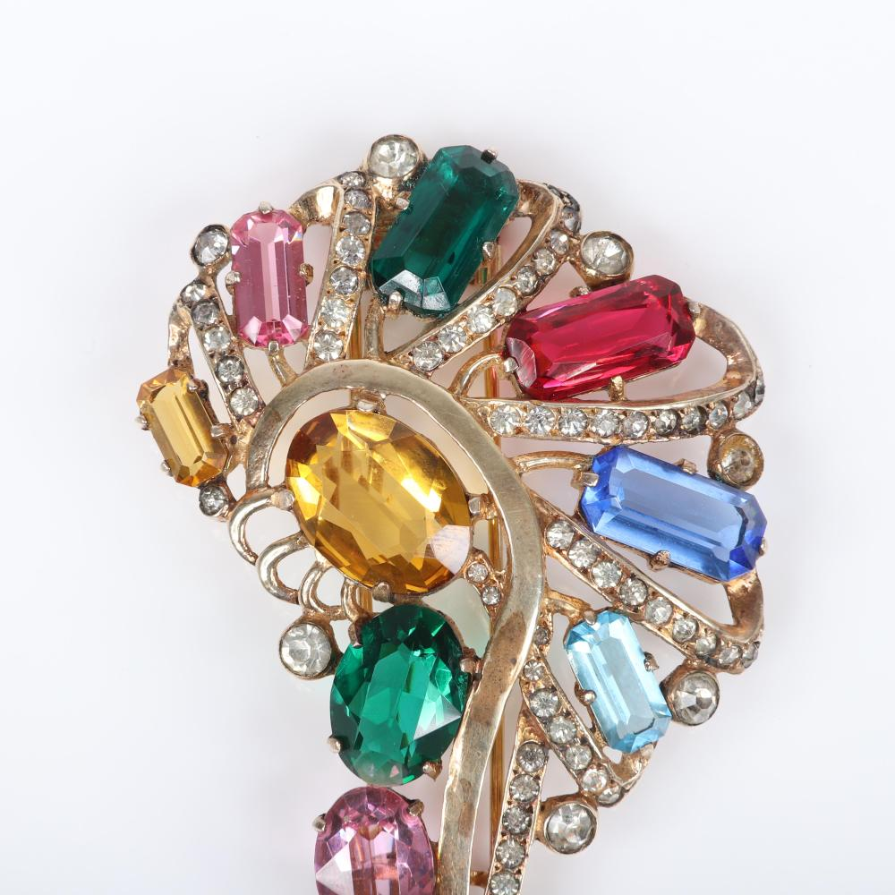 "Eisenberg Original sterling vermeil large openwork question mark spray swirl fur clip with huge faceted jewel-tone crystals and rows of rhinestones, 1940s. 4"" x 2 1/4"""