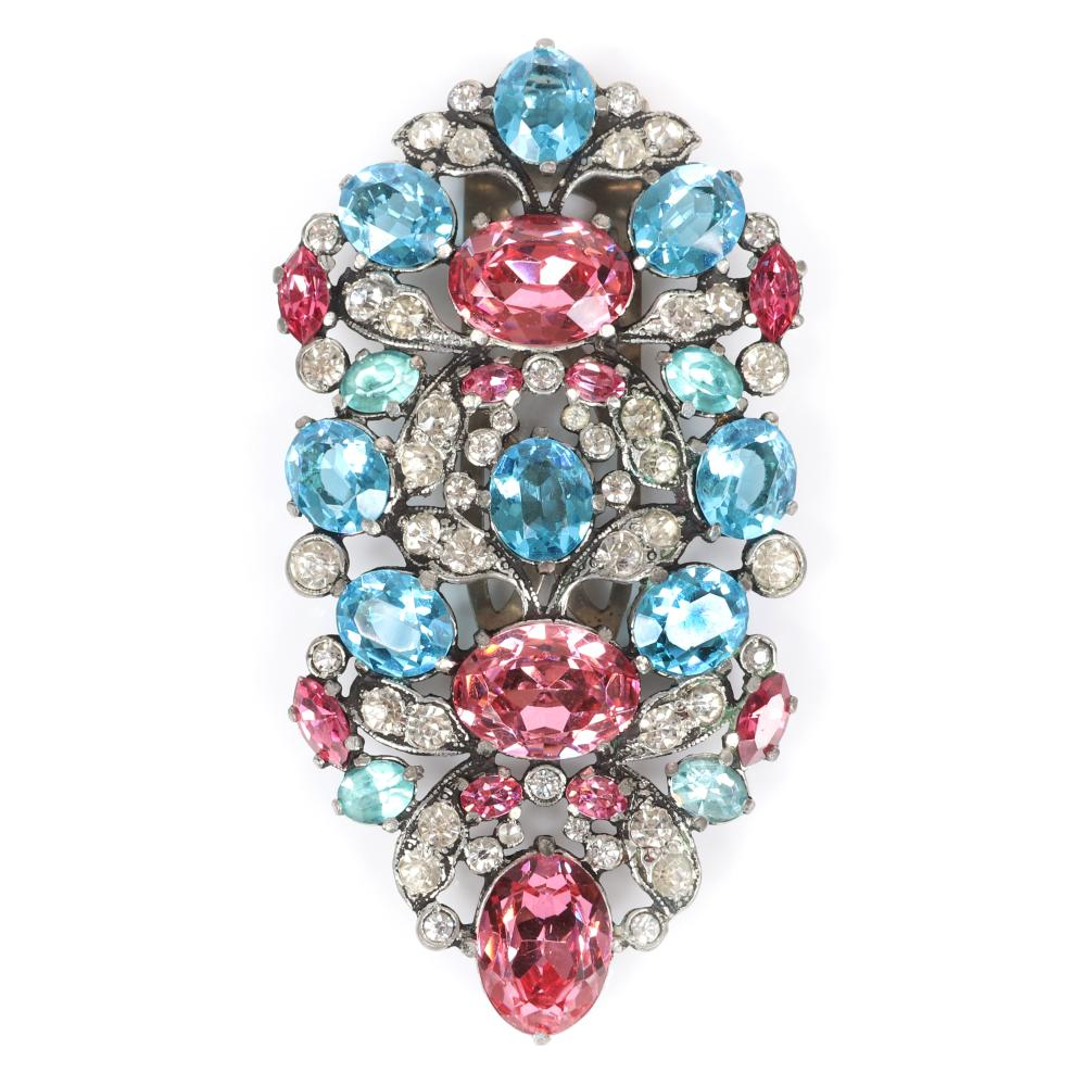 """Eisenberg Original huge fur clip with silver pot metal, small floral vignettes formed by massive pink and aqua crystal stones framed by clear rhinestones, 1940s. 4"""" x 2"""""""