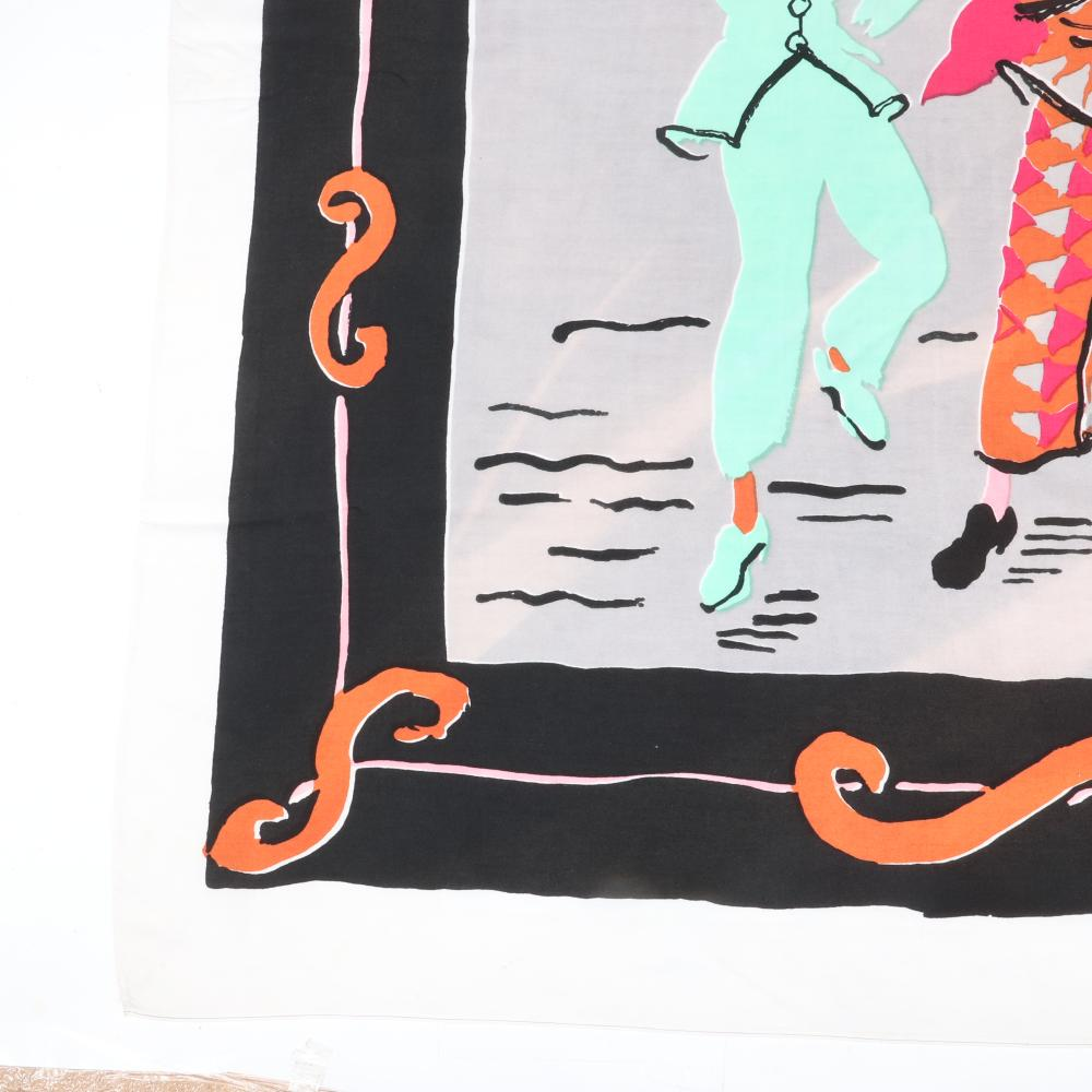 "Eisenberg Original Celebration scarf with three harlequins in green orange, pink and cream and black and orange scrolling border, signed RWB, mid-1940s. 38"" x 36"""