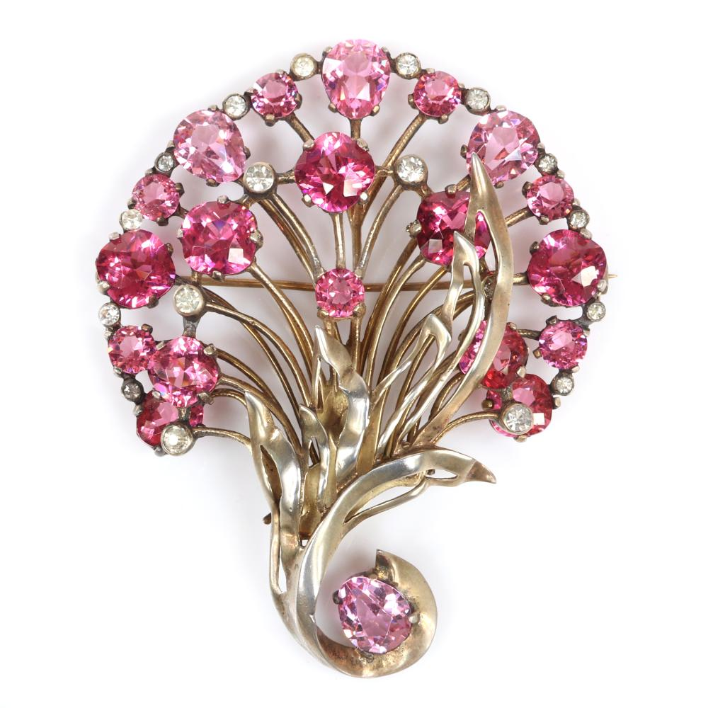 "Eisenberg Original sterling vermeil floral brooch with multi-hued pink stone blossoms in various sizes and cuts and clear bezel-set stones, 1940s. 3 3/8"" x 2 3/4"""