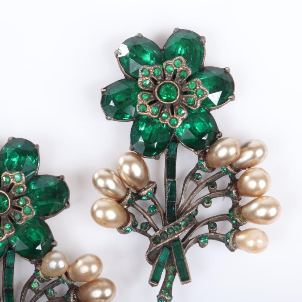"""Eisenberg Original matched pair of dimensional adornment sew-ons in gold pot metal, with large emerald crystals, and sprays of faux pearls, with back loops, c. 1930s. 2 3/4"""" x 1 3/4"""""""