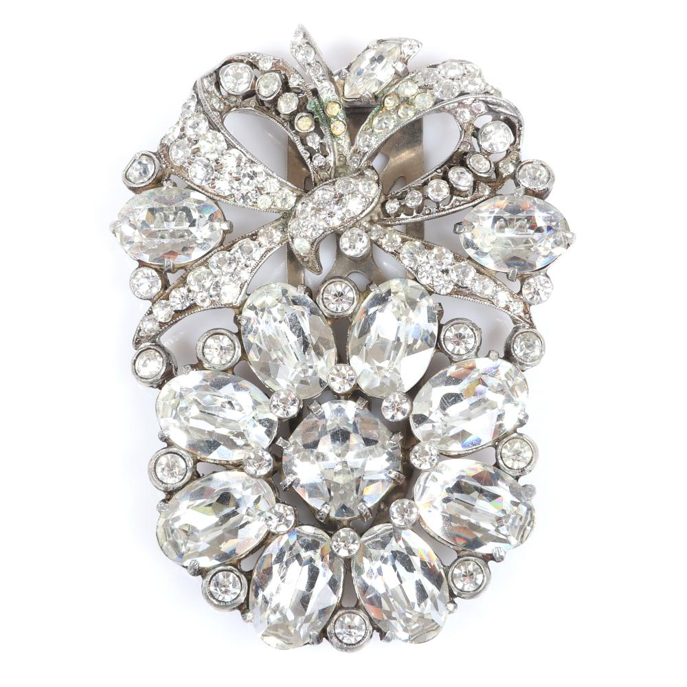 """Eisenberg Original flower with bow diamante dress clip with large clear oval crystals, bezel-set rhinestones and pave ribbon and bow, c. 1940. 3"""" x 2 1/2"""""""