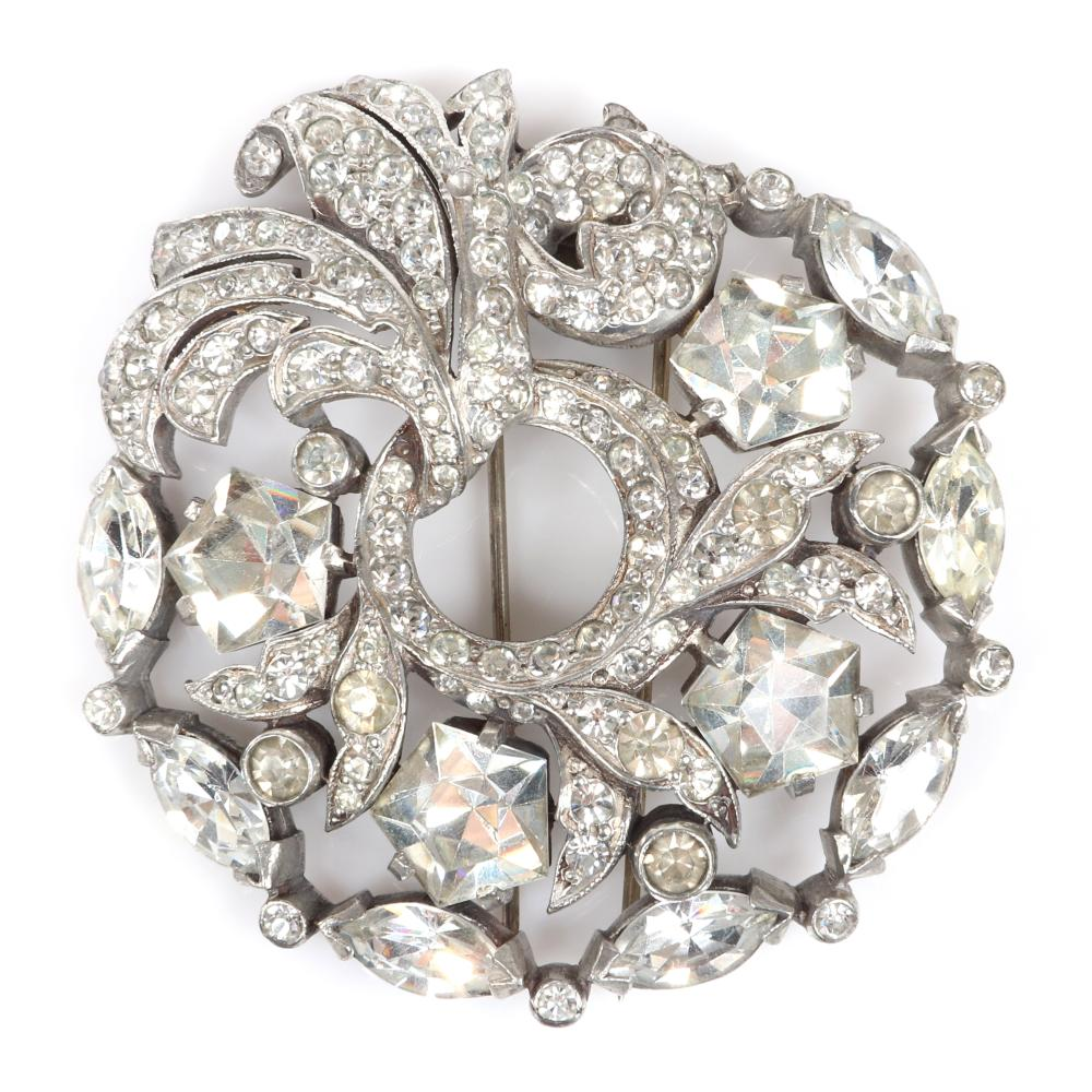 """Eisenberg Original large silver diamante wreath fur clip with large five-sided and marquise crystals, bezel-sets and swirling pave leaves, stamped 3, c. 1940. 2 1/2"""" x 2 3/4"""""""