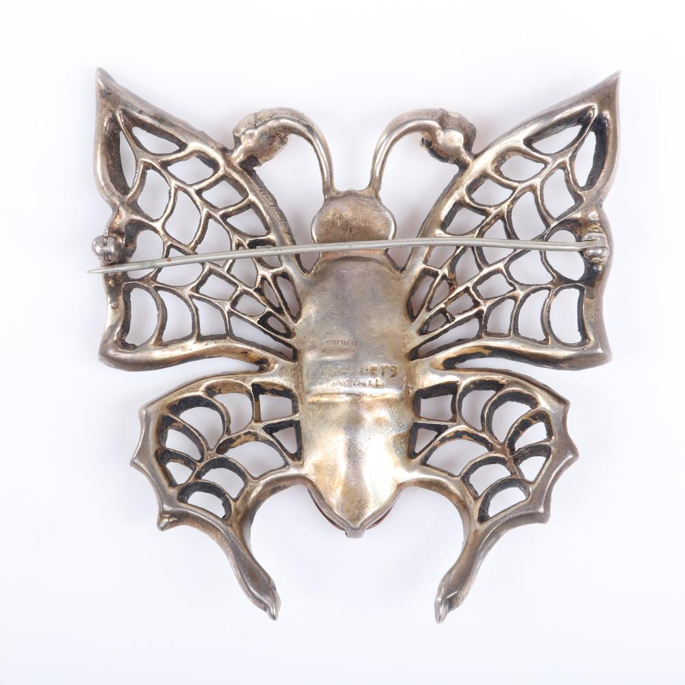 "Eisenberg Original sterling vermeil openwork butterfly brooch with a huge faceted topaz crystal body and antennae and giant lacy wings outlined in rhinestones, mid-1940s. 2 3/4"" x 2 3/4"""