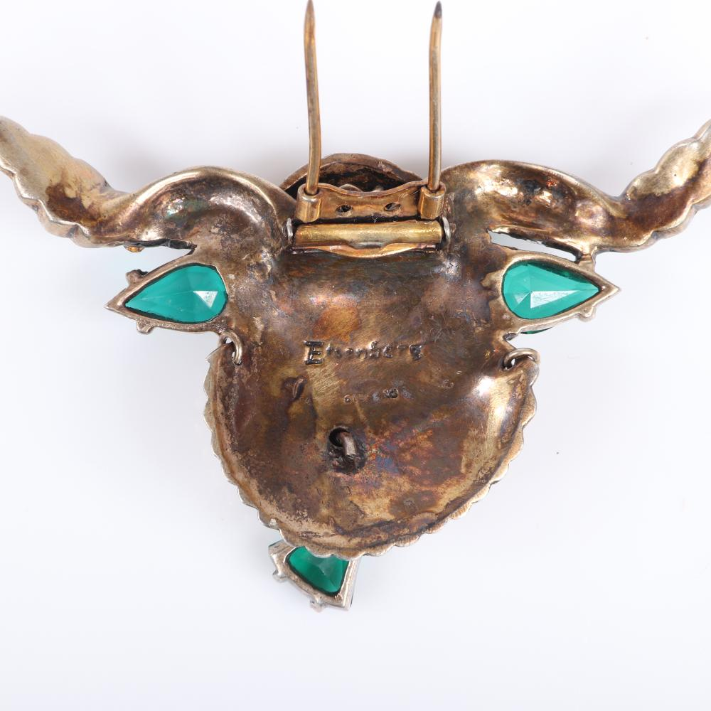 """Eisenberg Original sterling vermeil bull fur clip with dimensional carved head, twisting horns with rhinestone accents and emerald crystal ears and cowbell, mid-1940s. 2"""" x 3 3/4"""""""