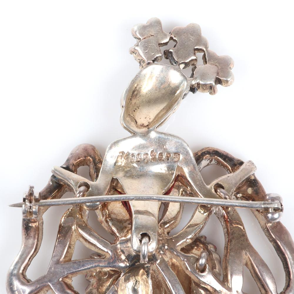 """Eisenberg Original vermeil Can-Can dancer brooch with clear rhinestones and red enameling accenting her skirt, shoes and lips, advertised March 1946. 3 1/2"""" x 2"""""""