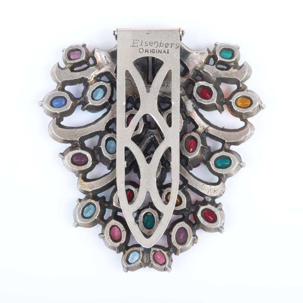 "Eisenberg Original multi-color dress clip, a many-hued delight of colored rhinestones and small bead accents, c. 1930s. 2 3/4"" x 2 1/2"""