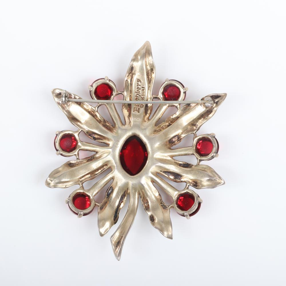 """Eisenberg Original sterling vermeil poinsettia brooch with ruby red jelly cabochons and faux turquoise beads, advertised Christmas 1944 (not included). 3 1/2"""" x 2 1/2"""""""