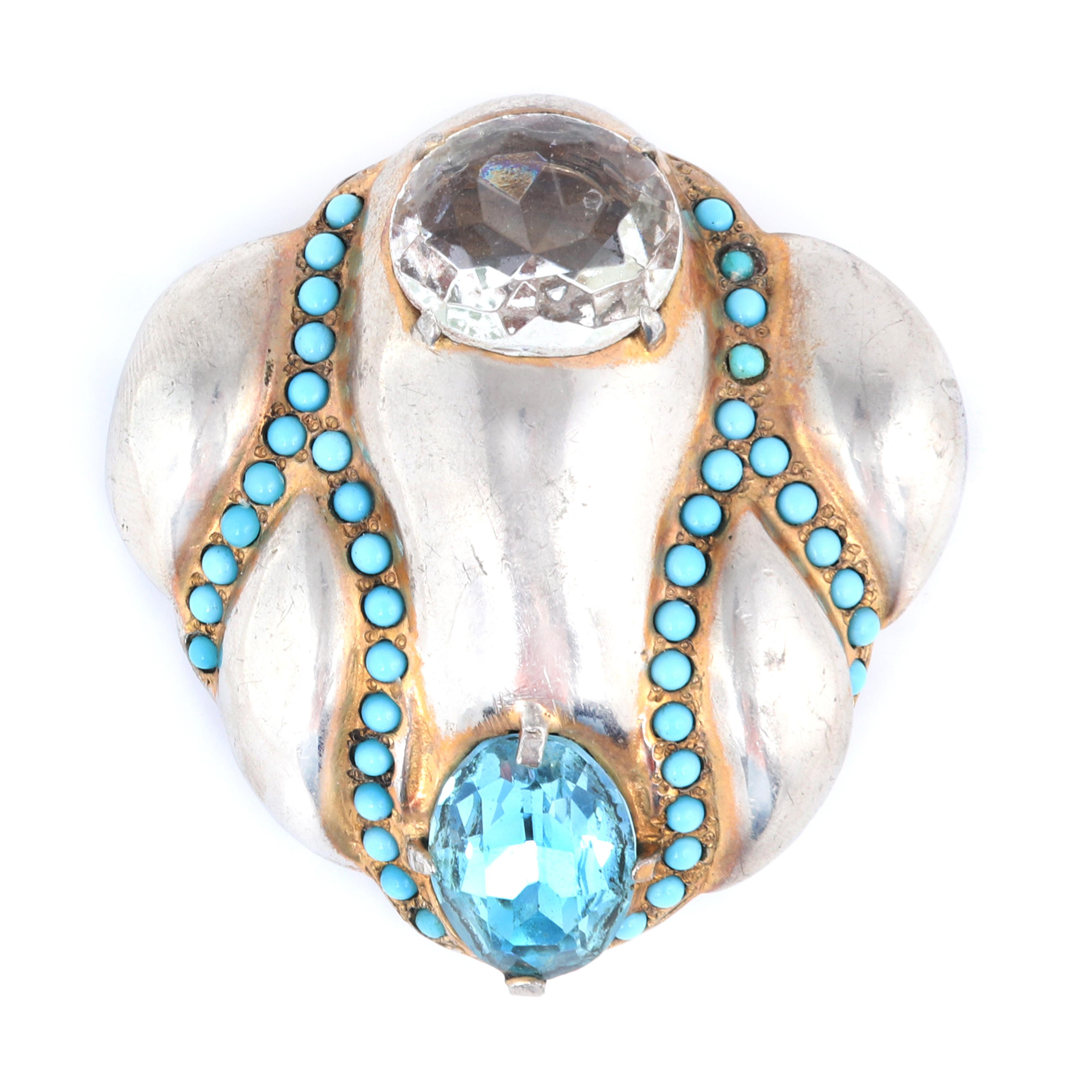 """Eisenberg Original abstract fur clip with gold washed pot metal and darker veining around faux turquoise beads, with large aqua crystal stone, early 1940s. 2 1/4"""" x 2 1/4"""""""