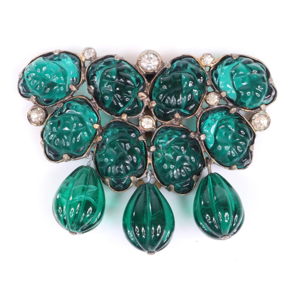 "Eisenberg Original green fruit salad fur clip with emerald green molded glass stones, dangling green melon balls and bezel-set rhinestones, c. 1930. 2"" x 2 7/8"""