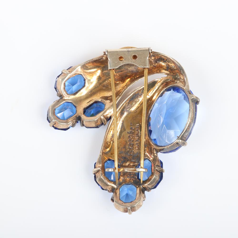 """Eisenberg Original sterling vermeil abstract dolphins fur clip with large blue oval crystal representing water, pave and capped with large round crystals, mid 1940s. 2 1/4"""" x 2 1/2"""""""