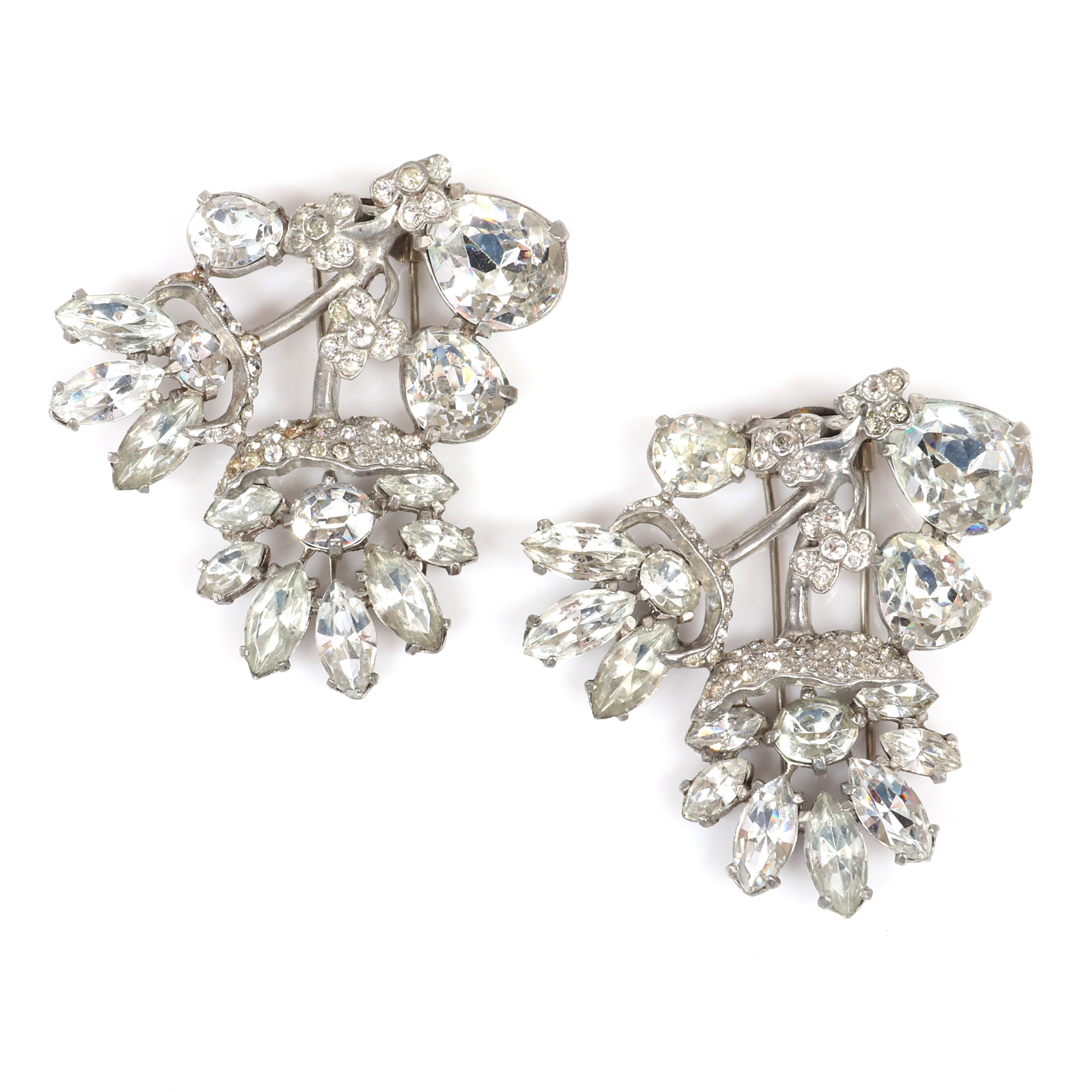 """Eisenberg Original pair of matching floral fur clips with flowers flowing from stems with clear bezel-set and marquise crystal rhinestones and pave, mid-1940s. 2 1/2 x 2 1/2"""" (each)"""