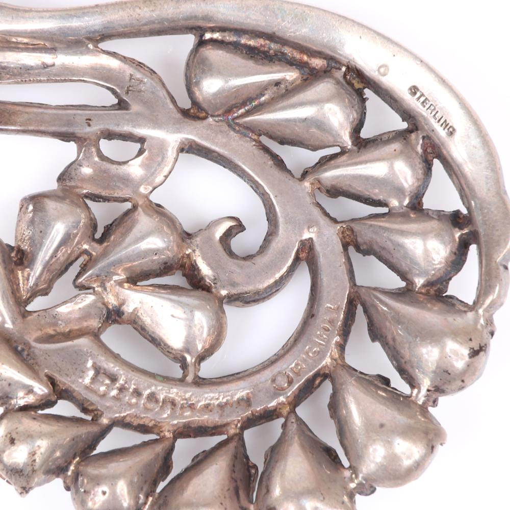 """Eisenberg Original sterling vermeil marine inspired fur clip with paisley swirls layered with teardrop clusters and pave, mid-1940s. 1 1/2"""" x 1 1/2"""""""