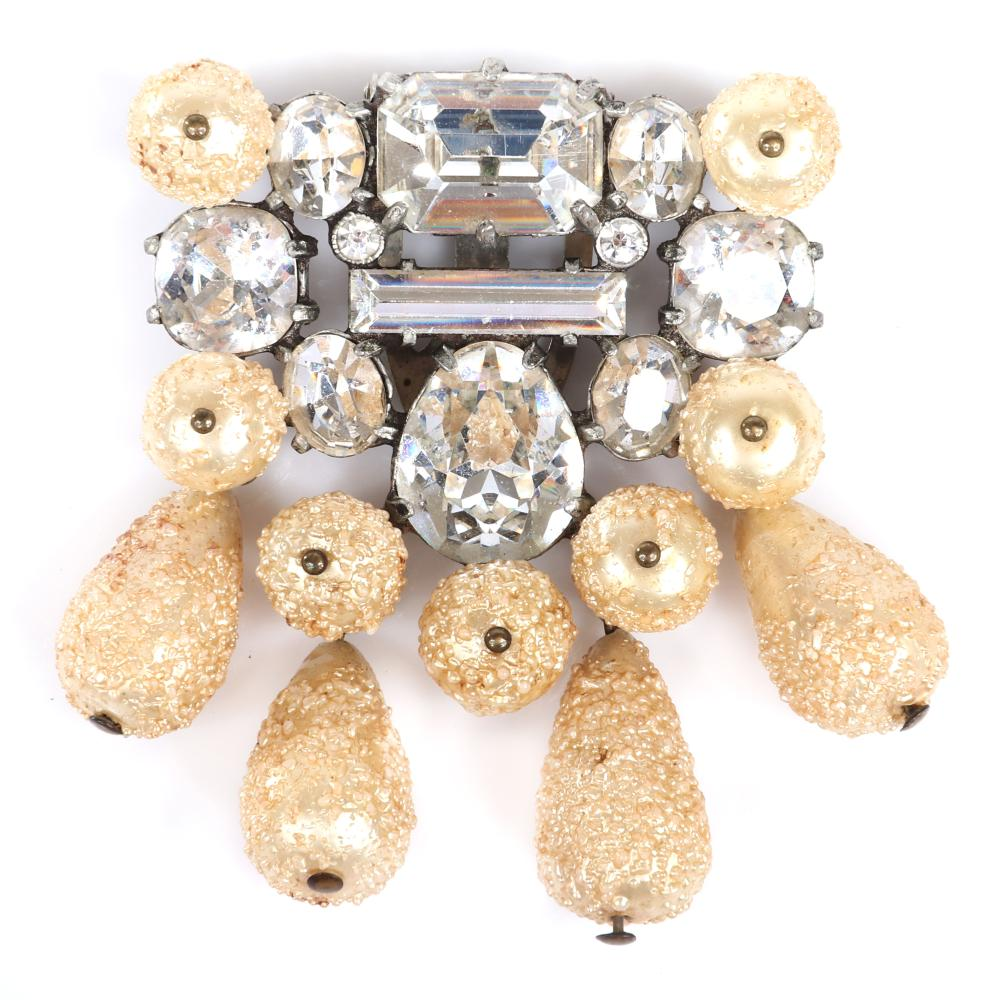 "Eisenberg Original pearl and rhinestone dress clip with unique flocked dangling pearls and large bright crystals in various cuts, c. 1940. 2 1/4"" x 2 1/4"""