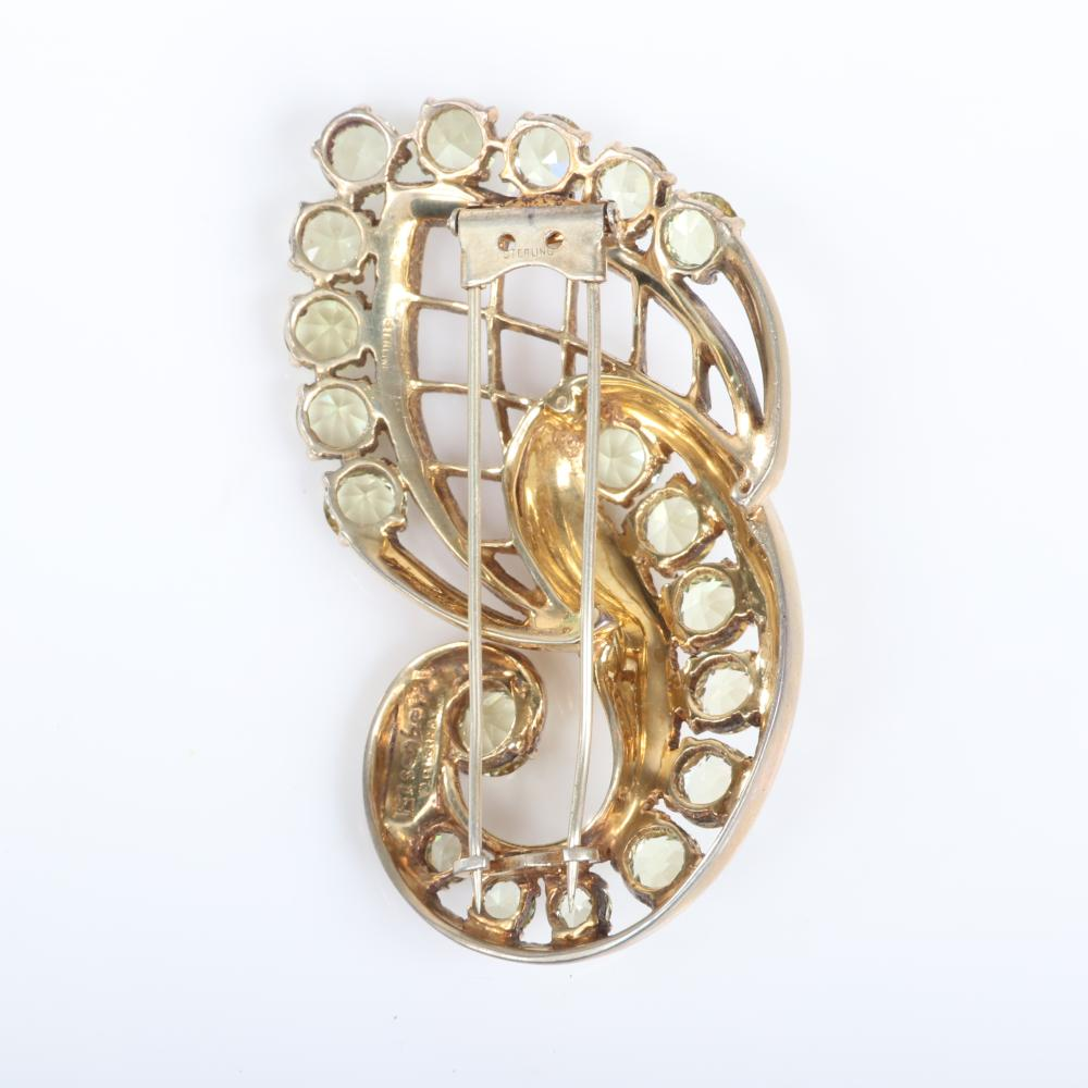 """Eisenberg Original sterling vermeil abstract paisley fur clip with pale yellow faceted crystals and woven openwork, mid-1940s. 3"""" x 3"""""""