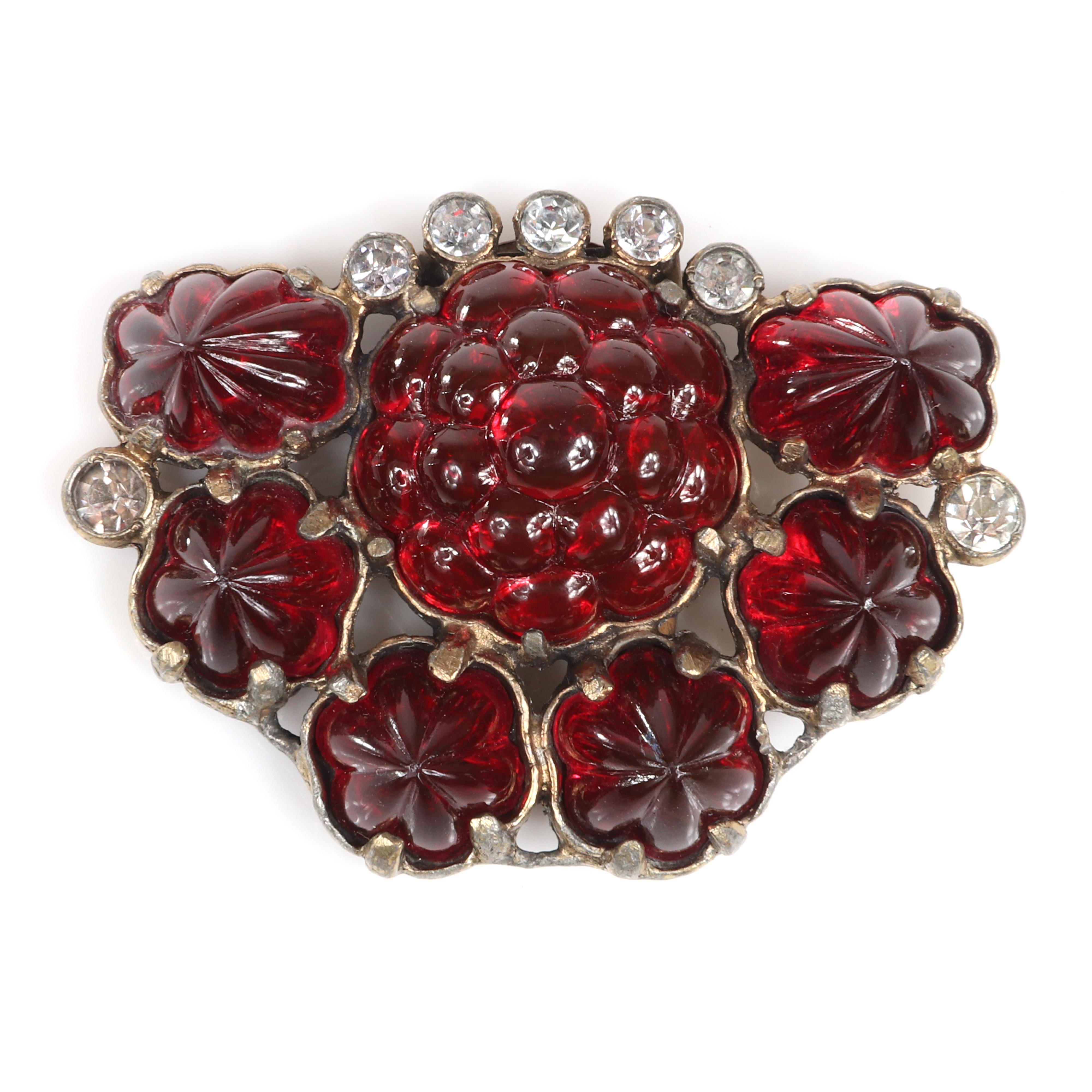 "Eisenberg Original rare fruit salad ruby molded glass floral stones with bezel-set clear rhinestones, c. 1930s. 1 5/8"" x 2"""