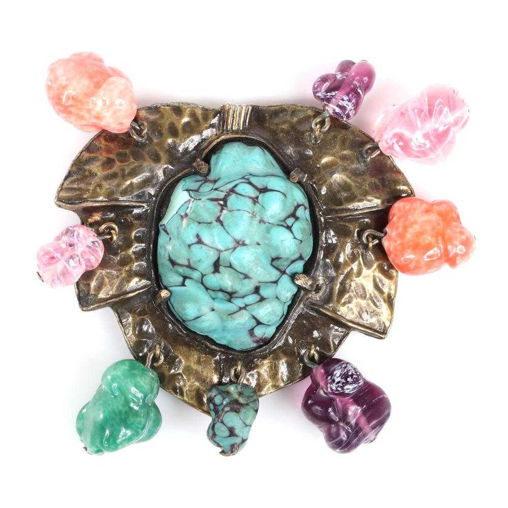 """Eisenberg Original gemstone dress clip in hammered antiqued gold layered around a 1 1/2"""" faux turquoise nugget with dangling glass natural stones, c. 1930s. 2 1/4"""" x 1 1/2"""""""