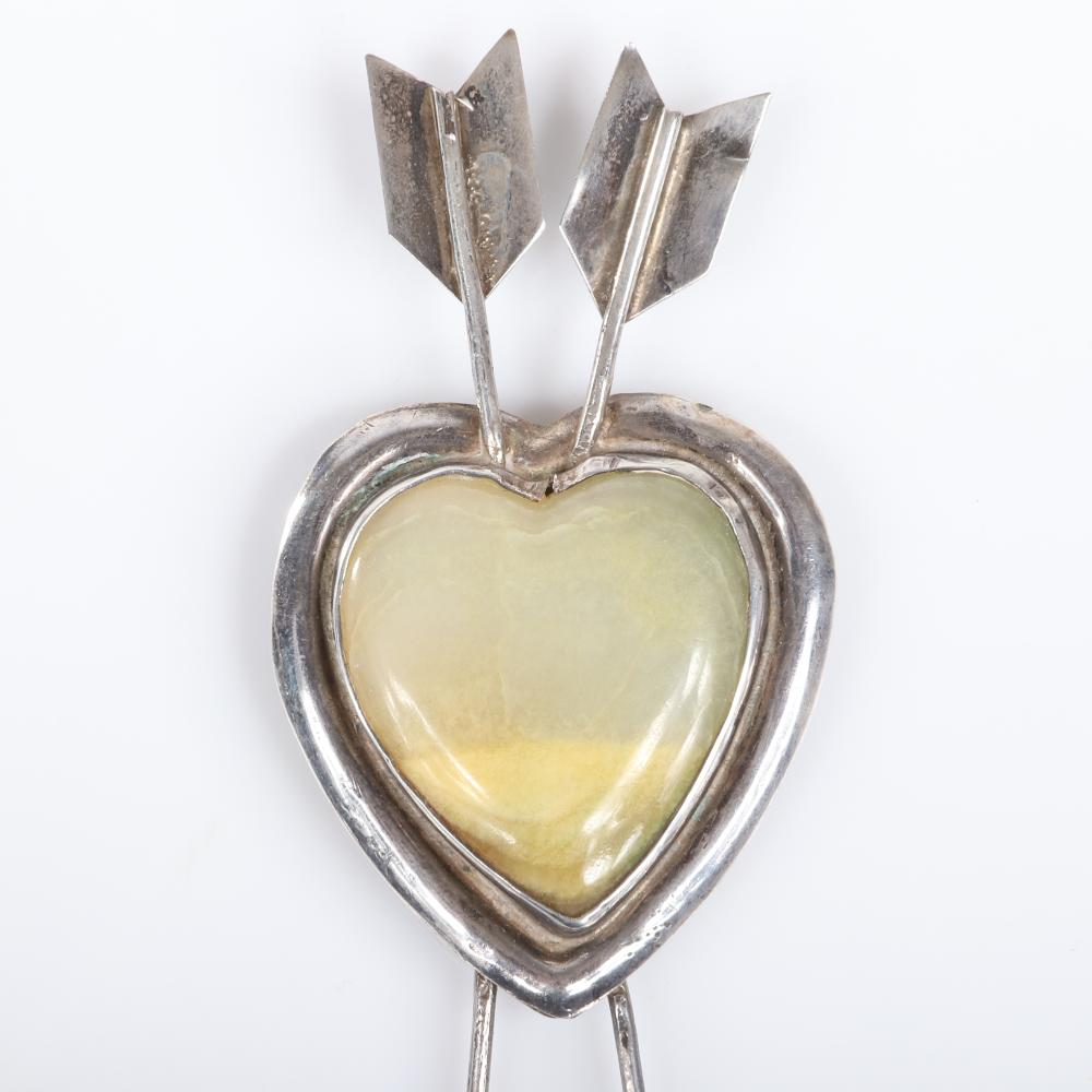 """Eisenberg Originals rare Mexican sterling silver large arrow and heart pin with faux jade central heart, with hand-inscribed mark, mid-1940s. 4 5/8"""" x 2"""""""