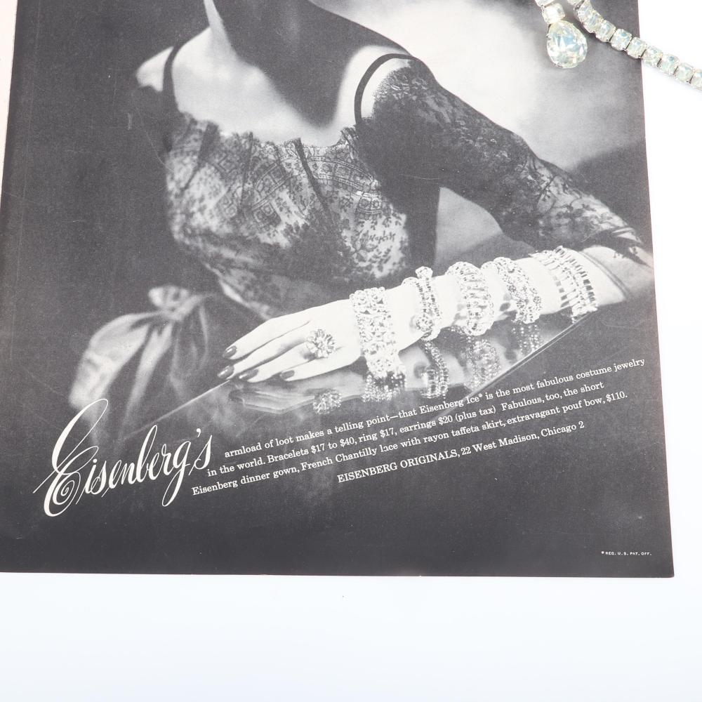 """Eisenberg Ice Art Deco overlapping crystal and rhodium bracelet with faceted prong-set crystals that cross at the center of the wrist. Includes 1951 original advertisement. 8 1/2"""" x 1/2"""""""