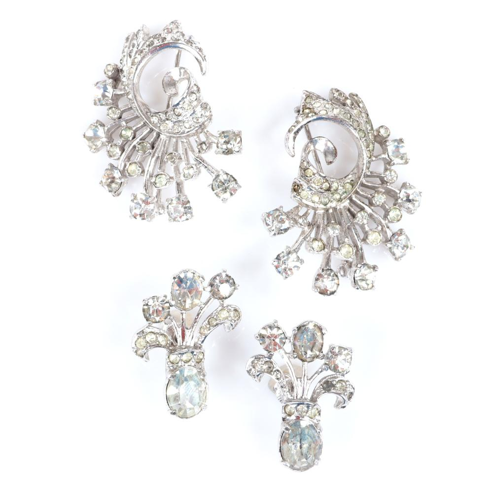 "Eisenberg Originals compact with rhinestone bow, earrings & two brooches with prong, bezel and pave-set rhinestones. Includes 1947 original advertisement showing compact & earrings. 1 1/2"" x 1 1/4"" (each brooch), 1 1/..."