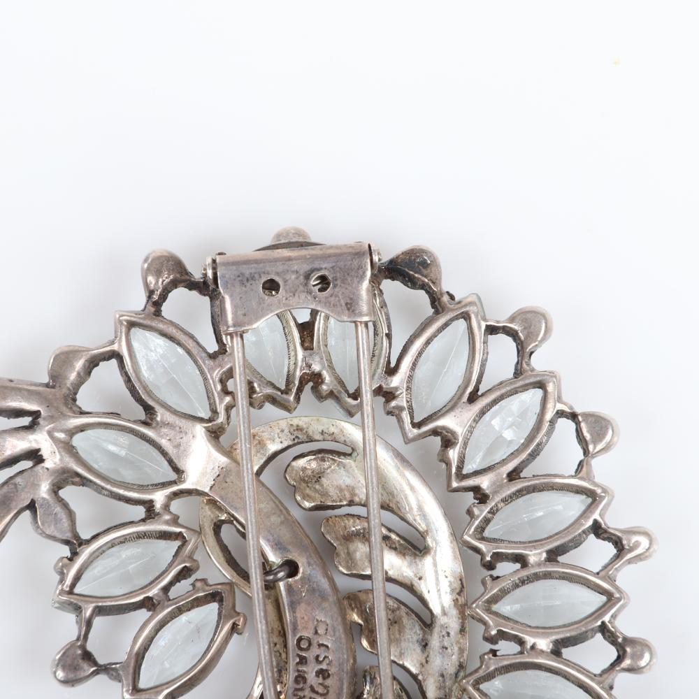 """Eisenberg Original sterling icy blue stylized feather fur clip with pale blue marquise crystals & bezel-set rhinestones, c. 1945, Shown in """"Jewels of Fantasy Costume Jewelry."""" 3 3/4"""" x 2 1/2"""""""