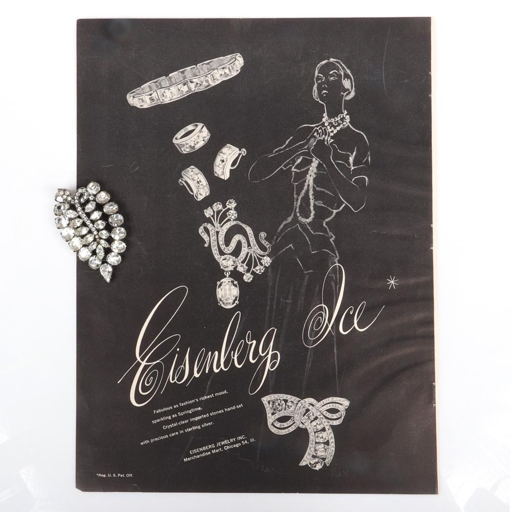 """Eisenberg Original sterling stylized leaf fur clip with marquise and oval stones, layering and open areas to create dimension, c. 1943 with original Vogue 1948 advertisement. 2 3/4"""" x 1 1/4"""""""