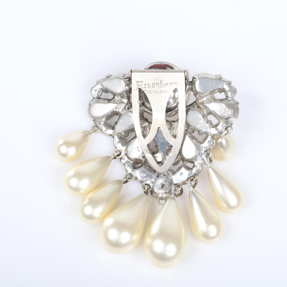 "Eisenberg Original Rare pearl and rhinestone dress clip ins silver pot metal draped with eight graduated teardrop pearls and pear-shaped and bezel-set stones, c. 1940. 2 /12"" x 2 1/2"""