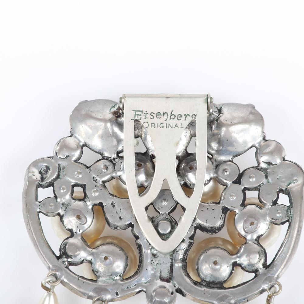 "Eisenberg Original pearl and rhinestone fur clip in antiqued silver pot metal with teardrop dangles, large crystals, pave and bezel-set stones, c. 1940s. 3"" x 2 1/2"""
