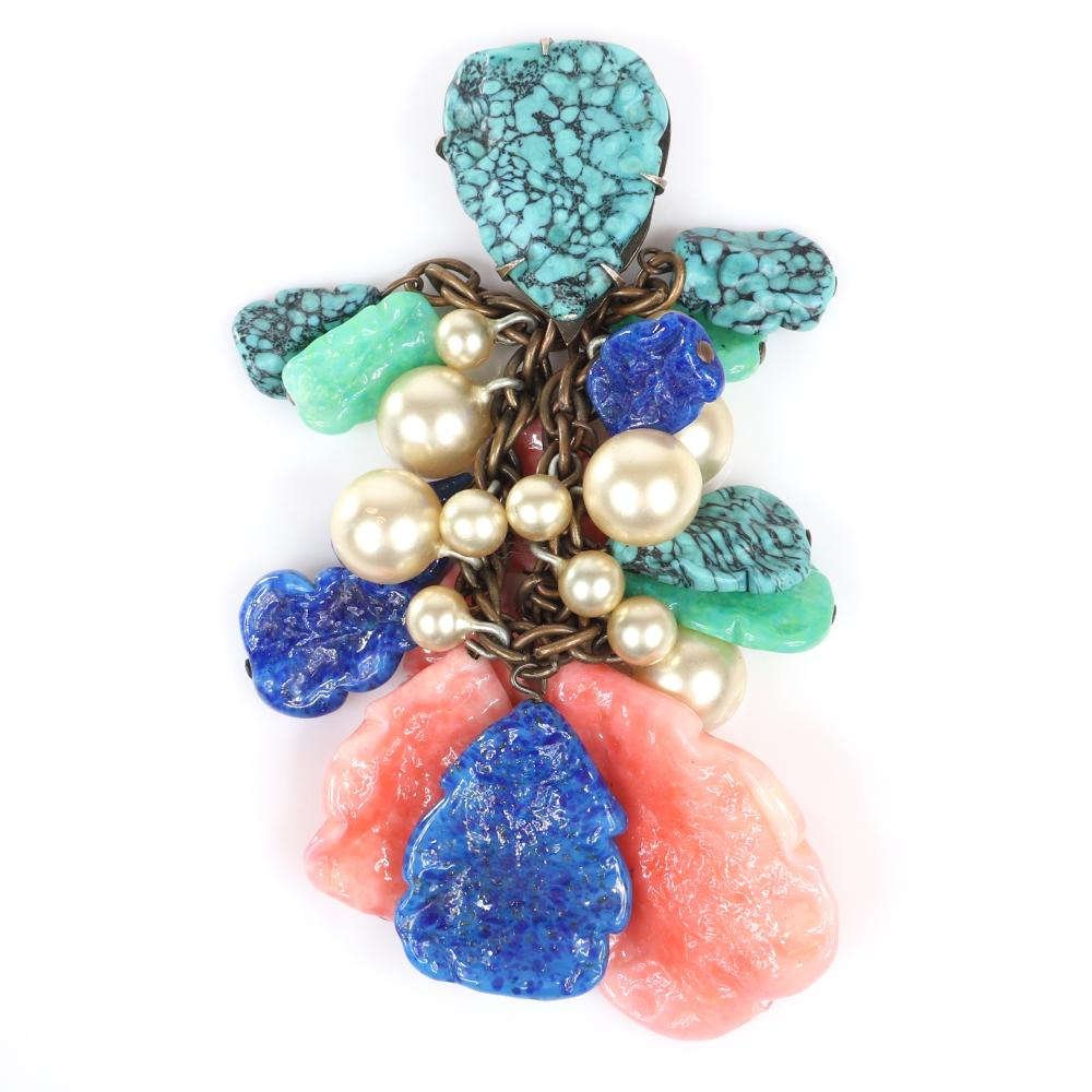 """Eisenberg Original unusual dangling dress clip with cascading molded glass drops in faux turquoise, faux coral, blue and green and faux pearls, c. 1930s. 4 1/4"""" x 2 1/4"""""""