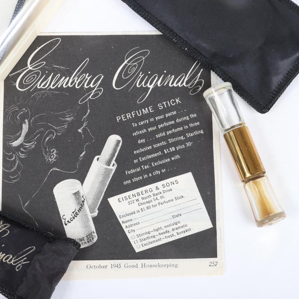 """Three Eisenberg Originals pocket book perfumes in original packaging: c. 1940s, golden crystal bottle, """"A Day to Night Delight"""" with two fragrances & double perfume, with perfume stick advertising. 4"""" x 2 1/2"""" (A Day ..."""