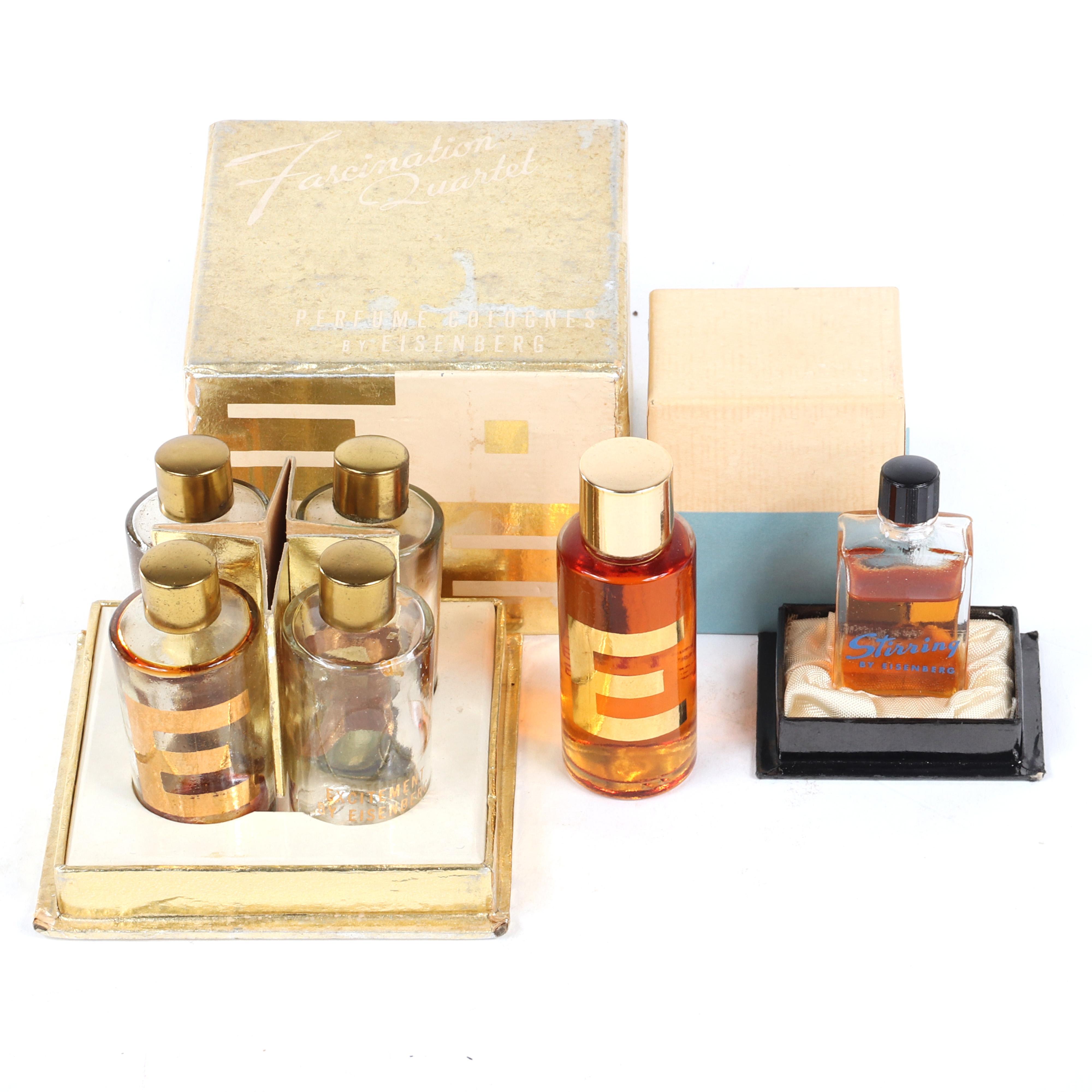 """Eisenberg and Suburban line fragrances: 1950s gift box """"Fascination Quartet Bottles"""" in original box, mid-1940s""""Stirring"""" in original box and """"Excitement."""" 3"""" square (quartet box)"""