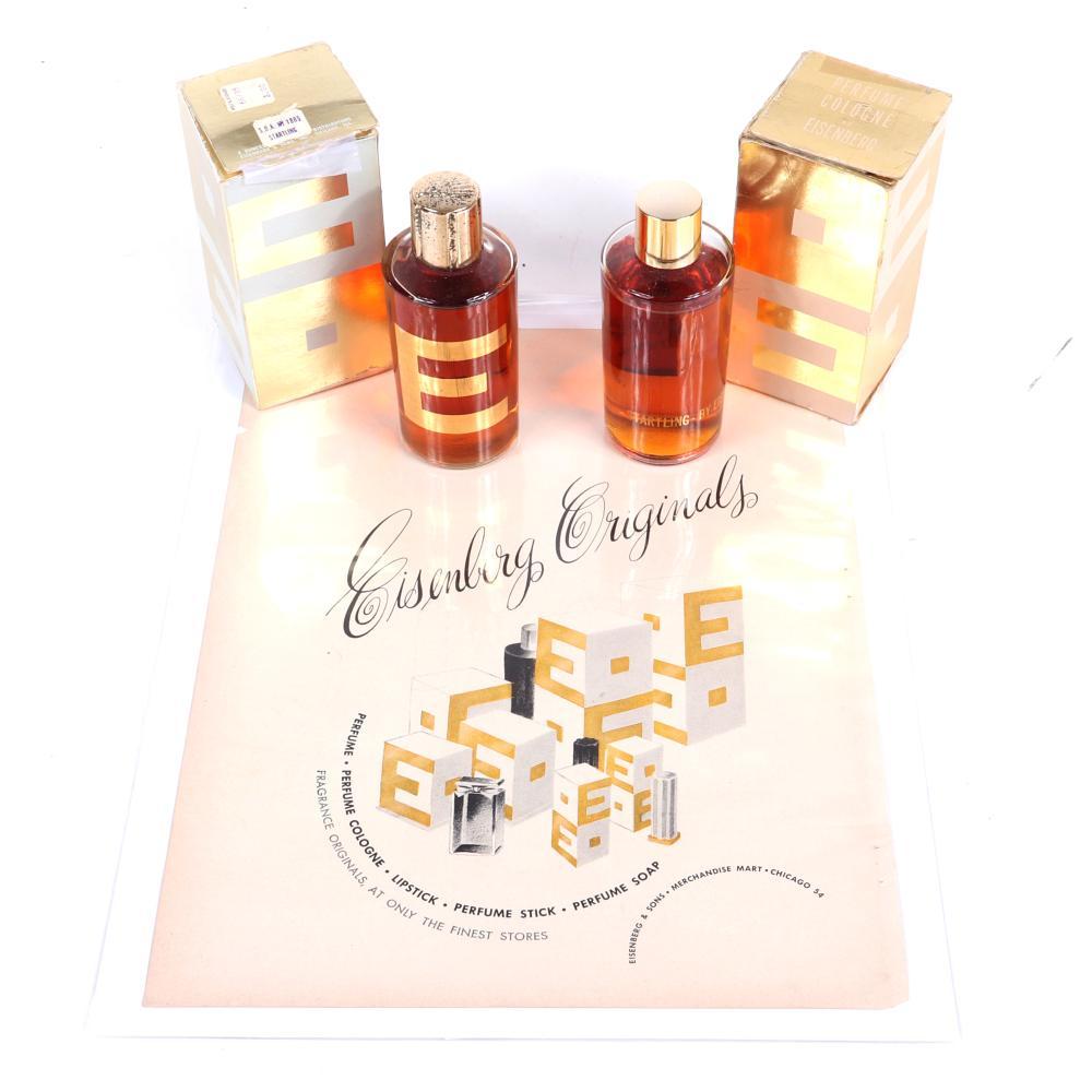 "Eisenberg Originals two bottles of perfume in original gold packaging ""Stirring"" and ""Startling"" with original 1948 Vogue and Vanity Fair advertisement. 5""H (each perfume)"