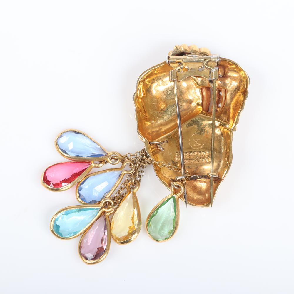 "Eisenberg Original gold plated Sinbad figural fur clip with turbaned head with pave and enamel detailing and multi-colored teardrop framed rhinestone dangles, c. 1940. 3 1/4"" x 2"""