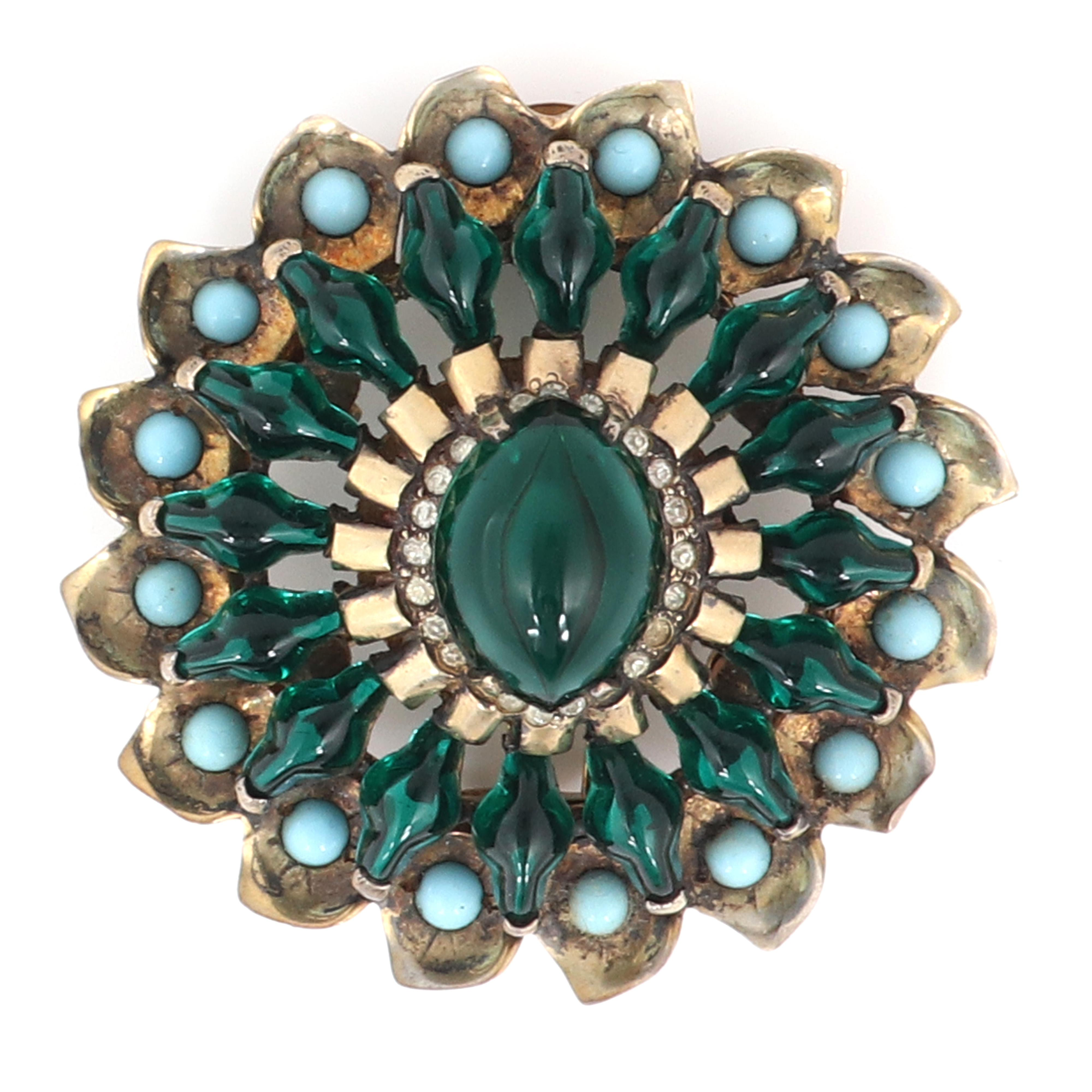 "Eisenberg Original sterling vermeil dimensional floral fur clip with large emerald glass cabochon, surrounded by pave, unique green glass beads & faux turquoise beads, c. 1945. 2 1/2"" diam."
