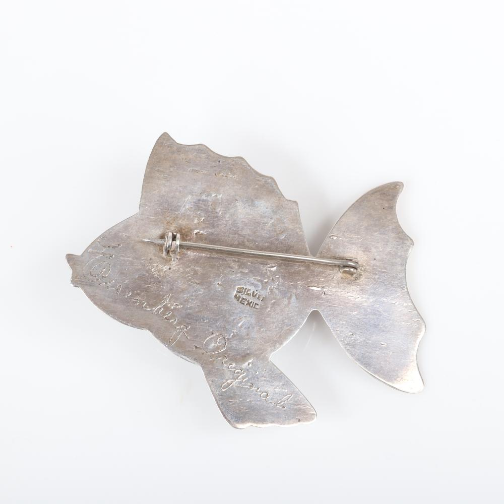 """Eisenberg Original large Mexican sterling dimensional fish brooch with huge domed faux jade agate or onyx cabochon and hand-inscribed mark, mid-1940s. 2 5/8"""" x 2 3/4"""" x 3 1/4"""""""