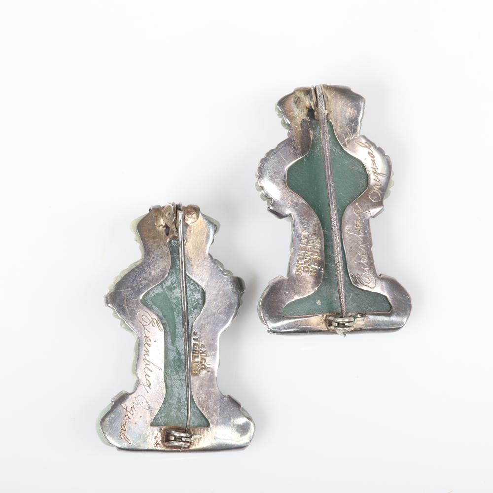 """Eisenberg Original pair of Mexican sterling and carved green onyx Aztec figural pins with hand-inscribed mark, c. mid-1940s. 1 3/4"""" x 1 1/4"""""""