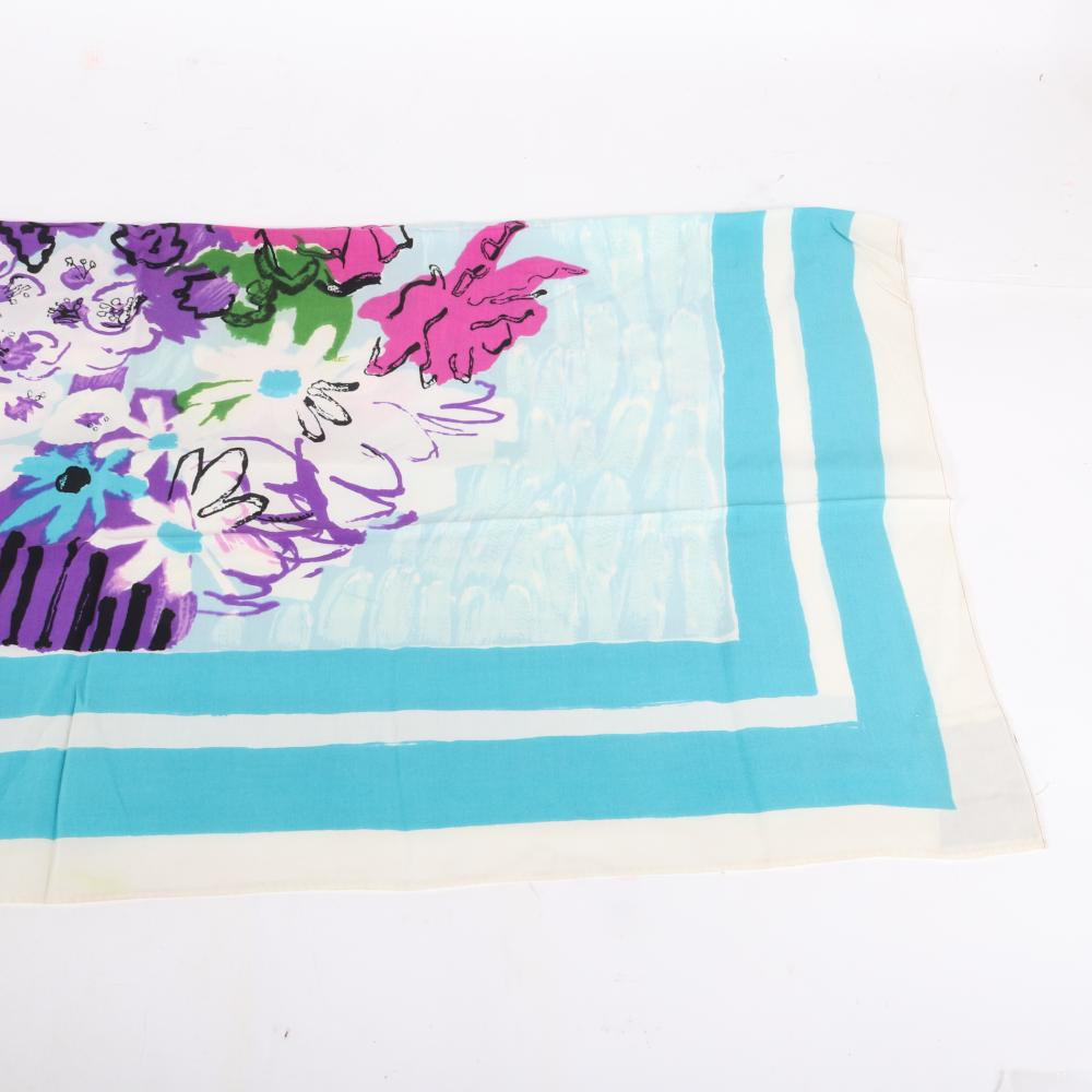"""Eisenberg Original Flowers in Vase Scarf, signed and designed by Rene Bouet-Willaumz with c. 1948 Vogue page showcasing his watercolor """"A Day at the Races."""" 39"""" x 36"""" (scarf)"""