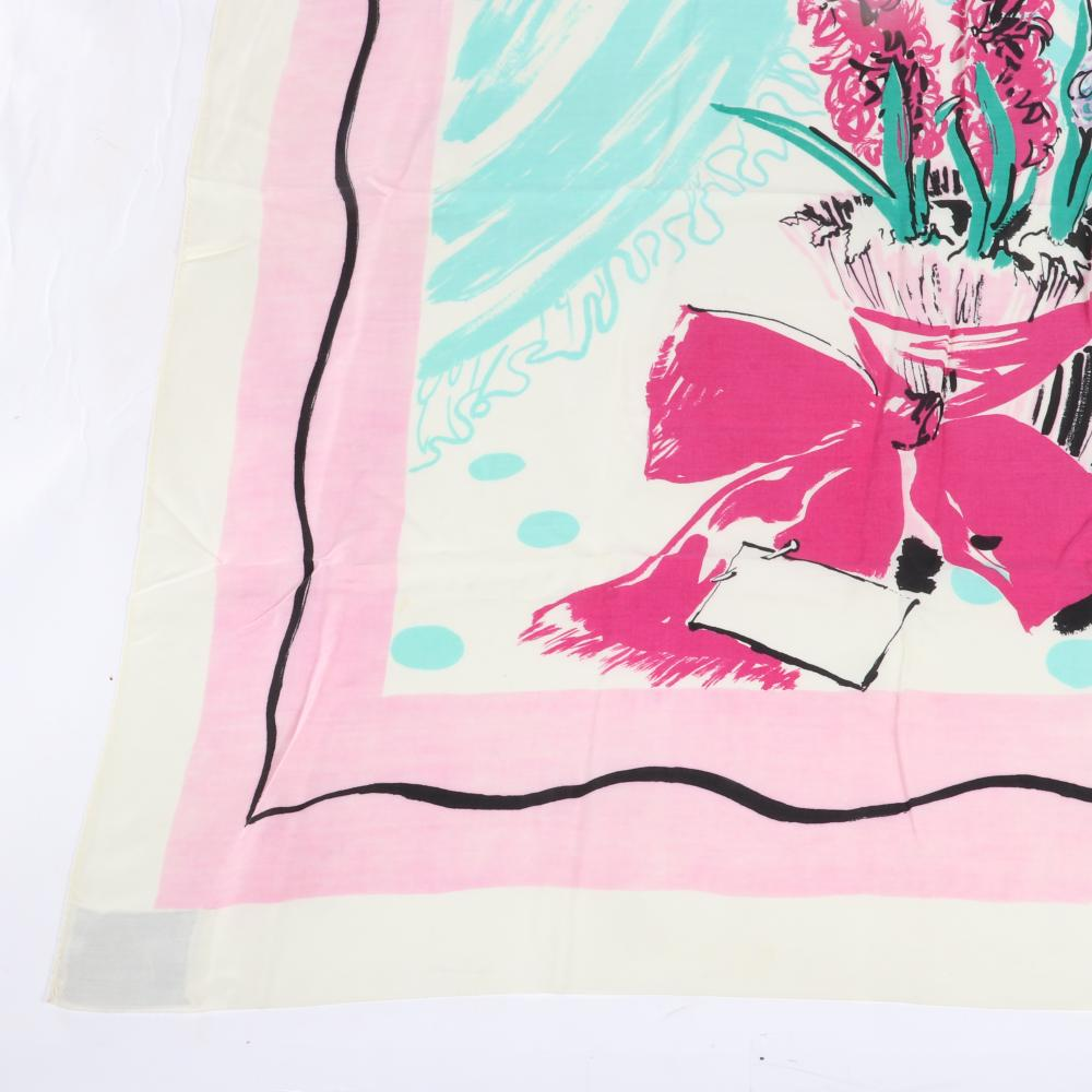 "Eisenberg Originals hyacinth Scarf signed RBW with design of gift-wrapped pot of pink and lavender and hyacinths, aqua accents, mid-1940s. 38"" x 36"""