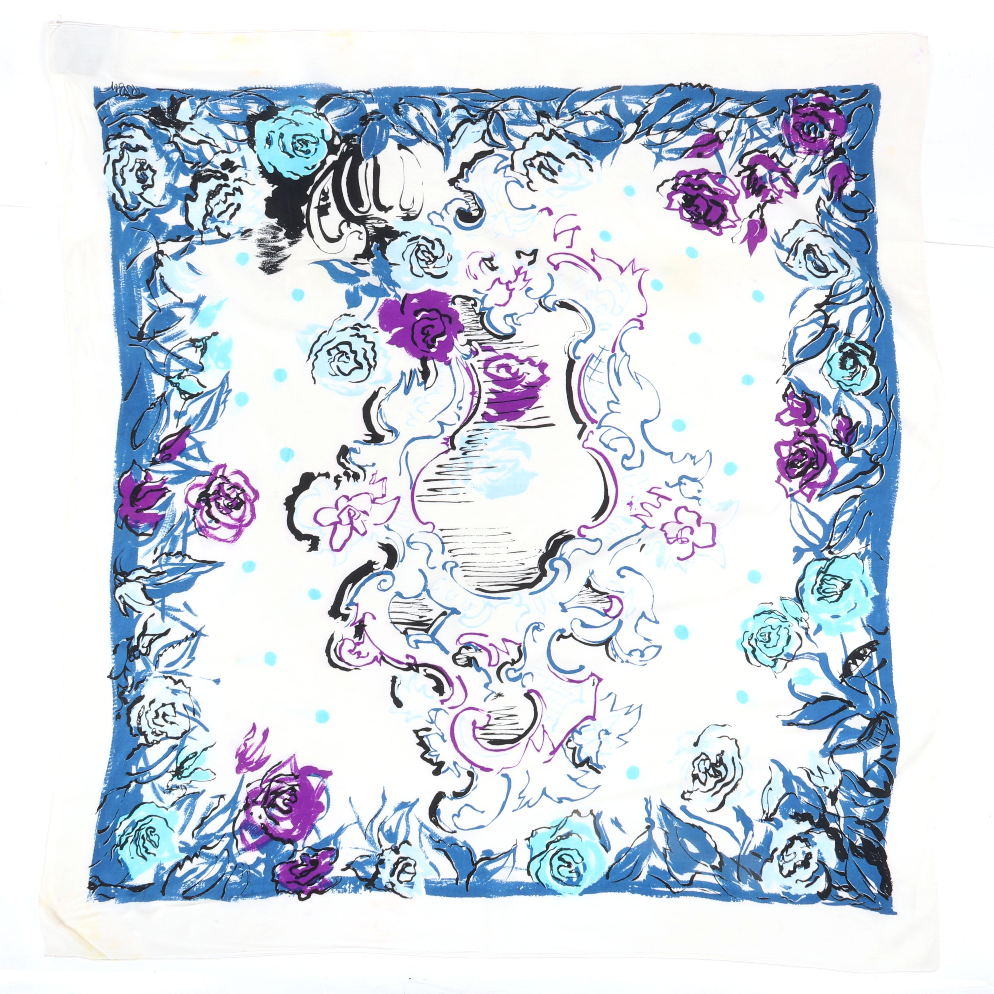 "Eisenberg Original floral ""Mirror Mirror on the Wall"" scarf in blues and purple scarf signed RBW, c. 1940s, with original 1945 ""Colossal Scarfs"" advertisement. 37"" x 34"" (scarf)"